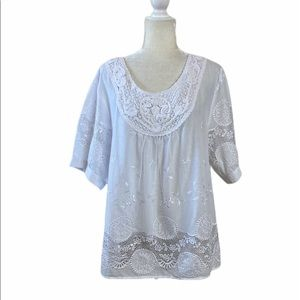 Lauren Michelle Woman White Boho Top
